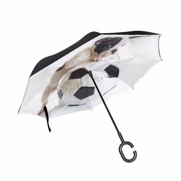 French Bulldog Puppy with Soccer Ball Reverse Umbrella Folding Double Layer Inverted C Hand Holder Stand Rain Windproof Umbrella