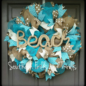 Deco Mesh Wreath-Beach House Wreath-Wreath-Summer Deco Mesh Wreath-Summer Wreath-Door Wreath-Beach Deco Mesh-Patio Mesh Wreath