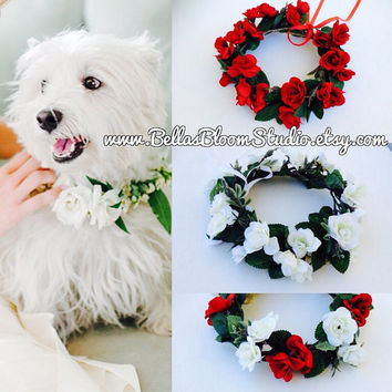 Dog flower crown, Dog wedding collar, Pet Wedding Attire, Girl dog collar, Flower pet collar Dog Ring Bearer pillow Dog Wedding flower,etsy