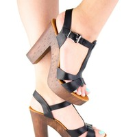 Womens Buckle Strap Open Toe Strappy High Heel Platform Sandals Chunky Heel New