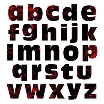 Alphabet Letters Lowercase Red Black Distressed Destroyed Zombie Horror MAG-NEATO'S TM Refrigerator Magnet Set
