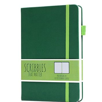 Scribbles That Matter (Pro version) Dotted Journal Notebook Diary A5 - Elastic Band - Beautiful Designer Cover - Premium Thick Paper (Green)