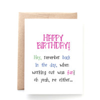 Funny Birthday Card for Her - Fitness Birthday Card - Back in the Day by Yellow Daisy Paper Co.