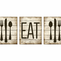 Kitchen Art Print 'Eat' Rustic Wood 'Look', Fork Spoon Knife Art, Set of Three 5x7, 8X10, 11x14 Typography, Kitchen Decor, Wall Decor
