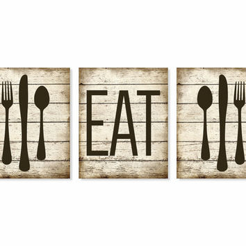 Kitchen Art Print 39 Eat 39 Rustic Wood 39 Look 39 Fork Spoon Knife