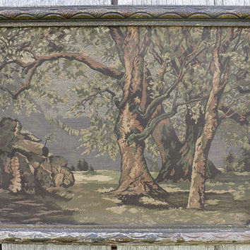 La France Art Co Jacquard Tapestry Picture, Vintage Framed Textile Wall Art Landscape