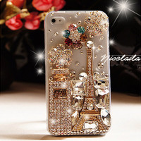 iphone 5 case - Bling iPhone 5 case - Unique iPhone 5 case - Crystal iphone 5 case bling flowers - Best iphone 5 case eiffel tower perfume