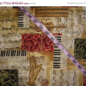 Musical fabric with instruments piano harp music note sheet  Mozart Handel cotton quilt quilting sewing material to sew by the yard crafting