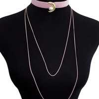 Moon and Pearl Velvet Layered Choker - Pink