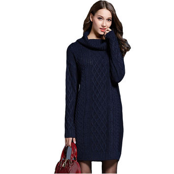 Knitted Sweater Dress 2016 Women Winter Turtleneck Dress Loose White Long Sleeve Dresses Sweaters Pullovers Christmas Warm Dress