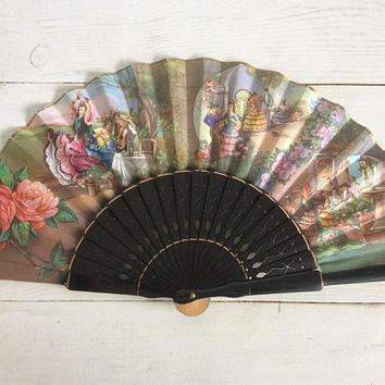 70s Vintage Fan - Flamenco Dancers & Musicians - Spanish Fan - Paper Wood - Hand Fan - Vintage Accessories - Antique Fan - Gift for Her