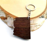 Arizona shape Wooden Keychain, Walnut Wood, USA States,  Custom Engravable Keychain, Environmental Friendly Green materials