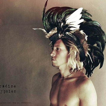 Feather Mohawk Headdress Black White Feathers Burgundy Black Leather Punk Silver Spikes by Paradise Gypsies