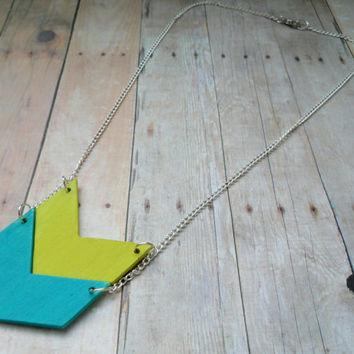 Wood Chevron Necklace, Hand Painted Wooden Minimalist Jewelry, Boho Necklace