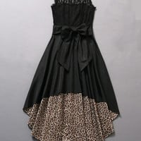 Black Leopard Lace Sleeveless Bow Tent Mini Dress