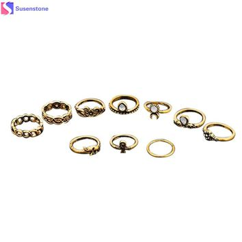 SUSENSTONE Retro 10Pcs/ Set Boho Fashion Arrow Moon Midi Finger Knuckle Rings 2016 Hot Sale