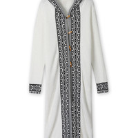 White Folk Pattern Hood Neck Tassel Hem Longline Knit Coat
