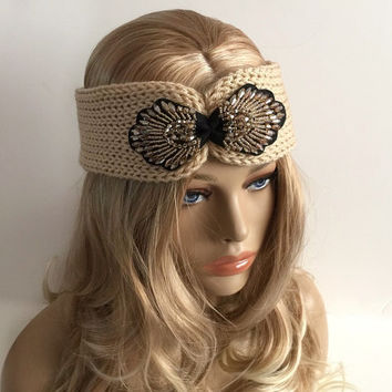 buff color knit headband / Ear Warmer gift or for you