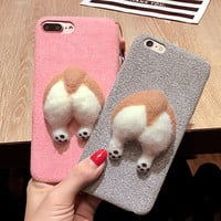 2017 new arrival corgi Wool felt butt ass cute cover for iphone 6 6s plus 5.5  iPhone7 soft Microfiber Case with neck lanyard -0316