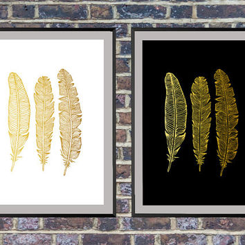 2 for the price of 1 Feather Print, Gold Wall Art, Feather decor, Wall Art, Feather Art, Gold Art, Feather Prints, Feather Wall Art *5*