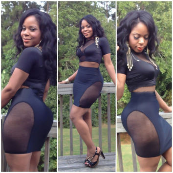 Black Mesh Accent Cropped Top and Mini Skirt