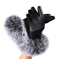 2017 New Fashion Women Lady Black Leather Gloves Autumn Winter Warm Rabbit Fur Mittens