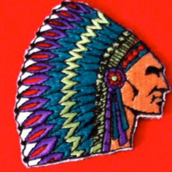 Embroidery Iron-On Sew-On Motif Indian Head Cherokee Head Dress