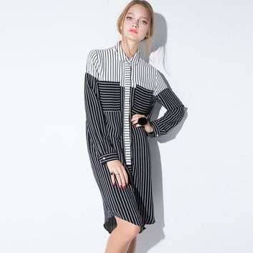 Loose Striped Contrast Boyfriend Shirt Dress