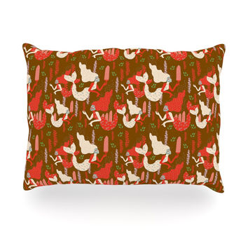 "Akwaflorell ""Mermaids"" Brown Red Oblong Pillow"