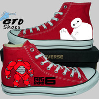 Hand Painted Converse Hi. Big Hero 6. Robot Baymax. Handpainted Shoes. V3