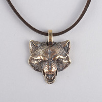 Handmade designer wolf pendant unusual metal jewelry elite unisex accessory