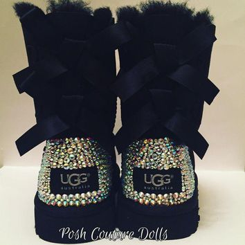 ICIK8X2 Custom Bling Bailey Bow UGG Boots