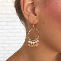 Hanging By A Pearl Hoop Earrings In Gold