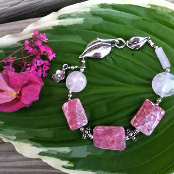 Rhodochrosite and Rose Quartz Bracelet Handmade Pink Gemstone Beaded Bracelet With Sterling Silver Flower Charm and Leaf Clasp Wedding Gift
