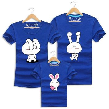 Lovely Rabbit T Shirts Family Clothing Family Look Clothes Soft Cotton Tops Tees Matching Mother Father Daughter Son Clothes Set