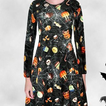 New Black Floral Pumpkin Spider Web Print Draped Round Neck Long Sleeve Fashion Halloween Mini Dress