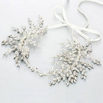 Rhinestone Crystal Silver Plated Hair Vine