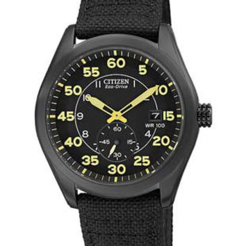 Citizen Eco-Drive Mens 100M WR Watch - Black Dial, Case and Canvas Strap