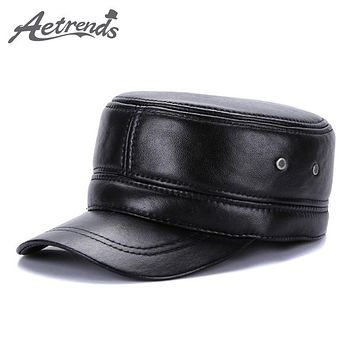 Military Style Genuine Leather Captain's Hat With Flaps
