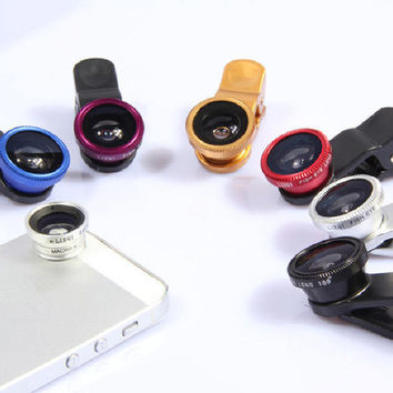 Universal 3 In 1 Clip-on Fish Eye Macro Wide Angle Mobile Phone Lens Camera kit for iPhone 5 6 Samsung S5 note MOTOROLA
