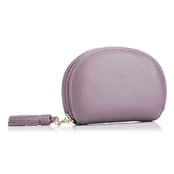 Aladin Small Keychain Wallet Zip Card Holder Coin Change Purse Genuine Leather