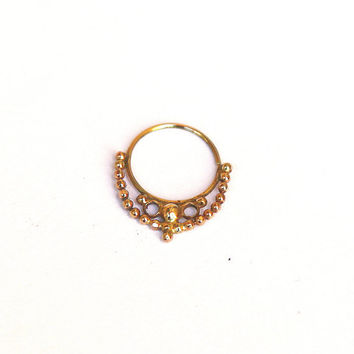 NOSE RING  Art Nouveau Gold nose ring 14k yellow gold by studiolil