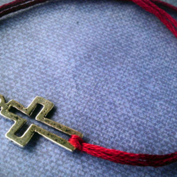 Cross Bracelet with burgundy band