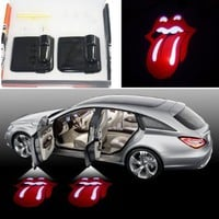 SHE'O® 2x Funny Sexy Red Tongue Magnetic Wireless car door projector LED courtesy welcome logo shadow ghost light Magnet Sensor Powered by battery