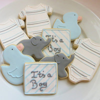 Baby shower cookie favors decorated for a boy in blue and gray: Onesuits, ducks, elephants and personalized squares, 1 dozen