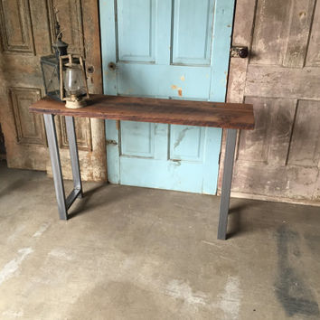 Reclaimed Wood Console Table / Industrial Entryway Table / Barn Wood Table