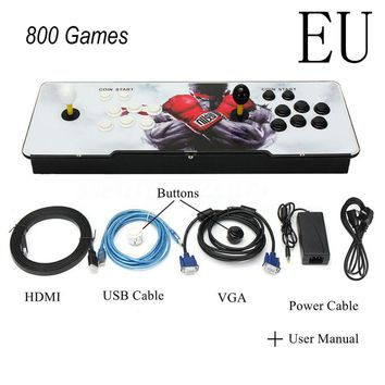NEW  EU 800 Games Home Multiplayer Arcade Game Console Kit Set Double Joystick HDMI VGA Interface
