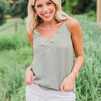 Feel My Love Lace Trimmed Tank Top- Olive