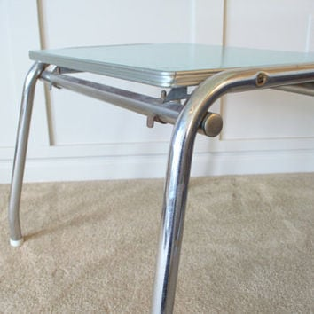 Blue Laminate and Chrome Table, 1950s Chrome Formica End Table, Mid Century Formica Child's Table, Chrome Side Table