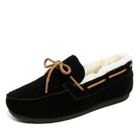 Fashion 2016 Brand U With Fur Women Loafers Slip On Women Flats Winter Casual Ladies Warm Oxfords Shoes for Women